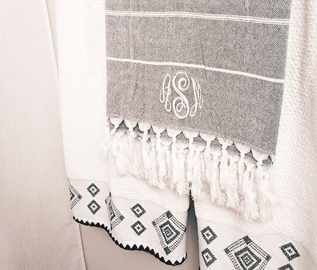 gray and white striped turkish towel