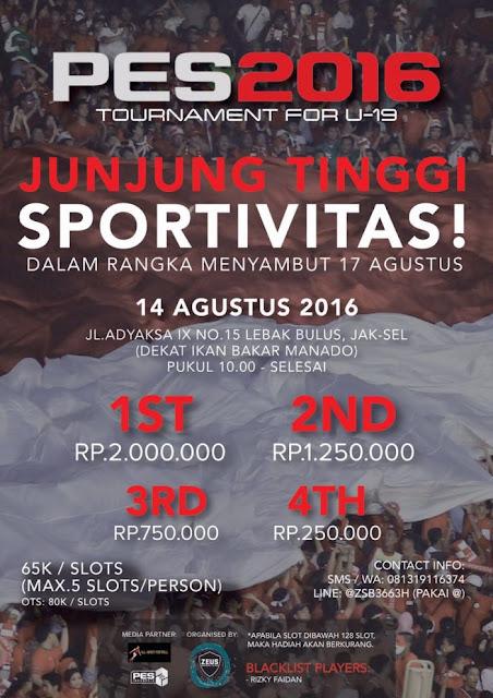 Info Kompetisi PES 2016 di Jakarta Agustus 2016 Khusus U-19