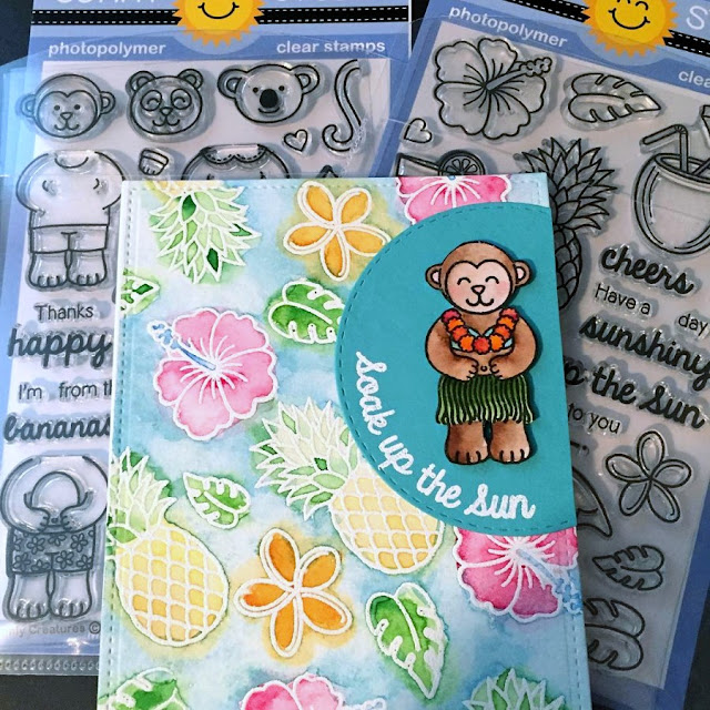 Sunny Studio Stamps: Tropical Paradise & Comfy Creatures Soak Up The Sun Watercolor Card by Sarah Corkrey-Elliott
