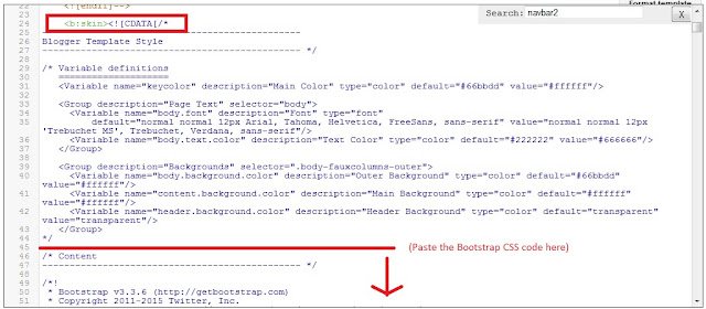 Add the Bootstrap CSS to the Blogger skin section of the template