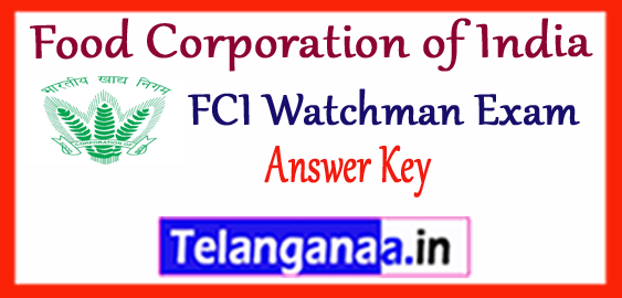 FCI Food Corporation of India Watchman Answer Key 2017-18 Result Merit List