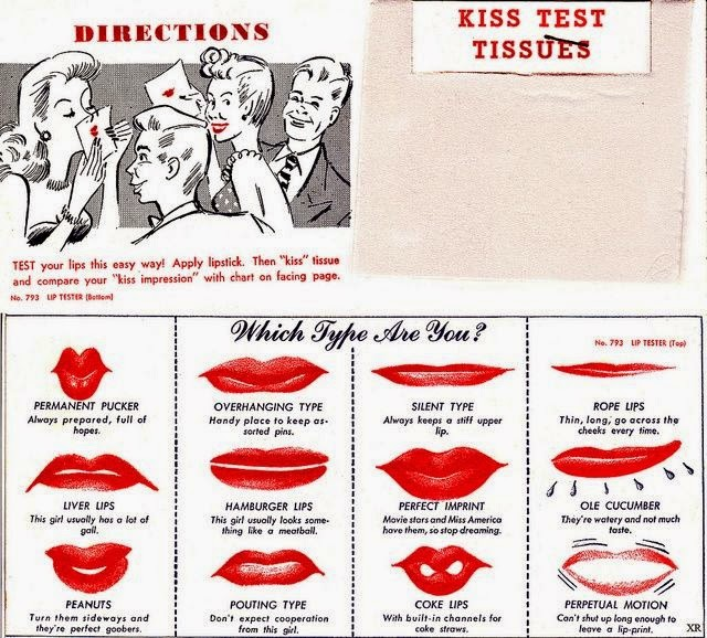 1948 lipstick kiss test tissues