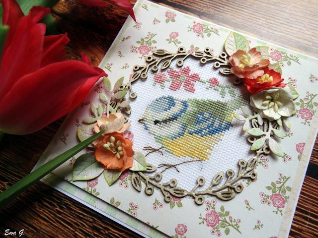 Imieniny miesiąca - kartka z ptakiem