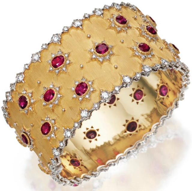 Buccellati gold, ruby, and diamond bracelet, rubies, diamonds, gold, bracelet, cuff, bangle, bridal, wedding, bride