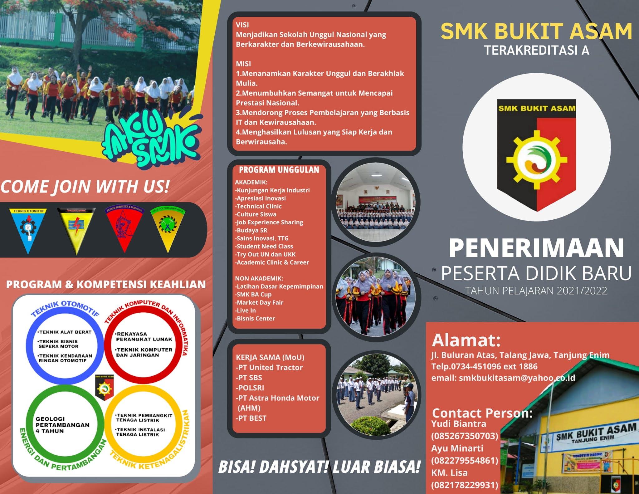 PPDB Jalur Reguler SMK Bukit Asam Tahun 2021