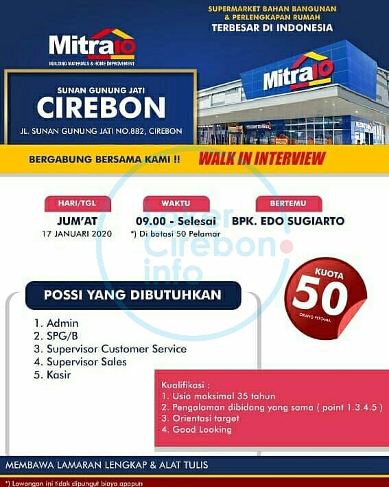 Walk In Interview di Mitra10 Cirebon