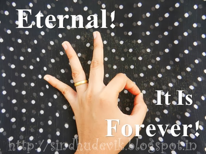 Handsign for superb as eternal that is forever.