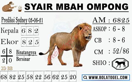 Syair Mbah Ompong Sydney Kamis 03-Juni-2021