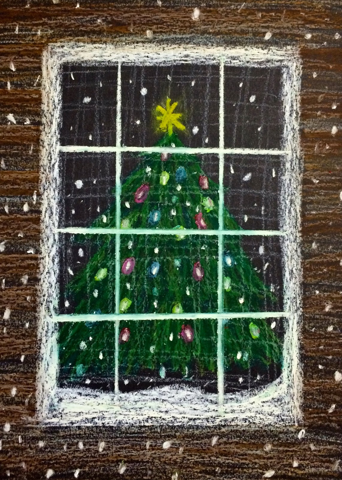 Kathy S Art Project Ideas Oil Pastel Christmas Tree In A Snowstorm