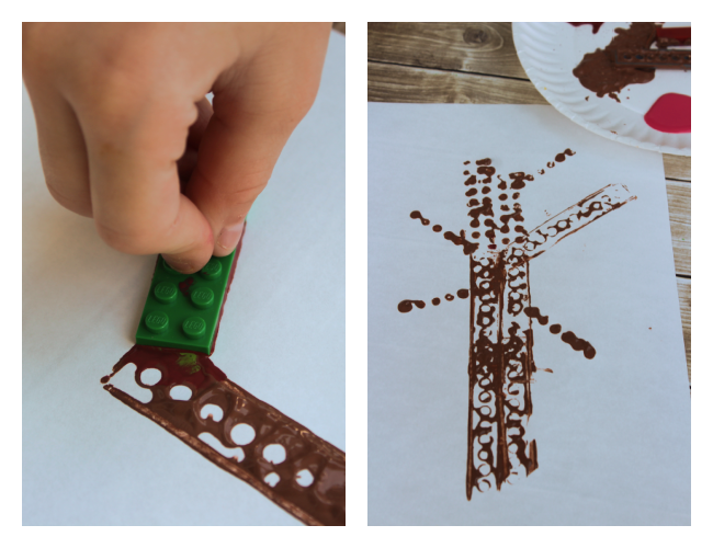 Brick-stamped apple tree activity for kids