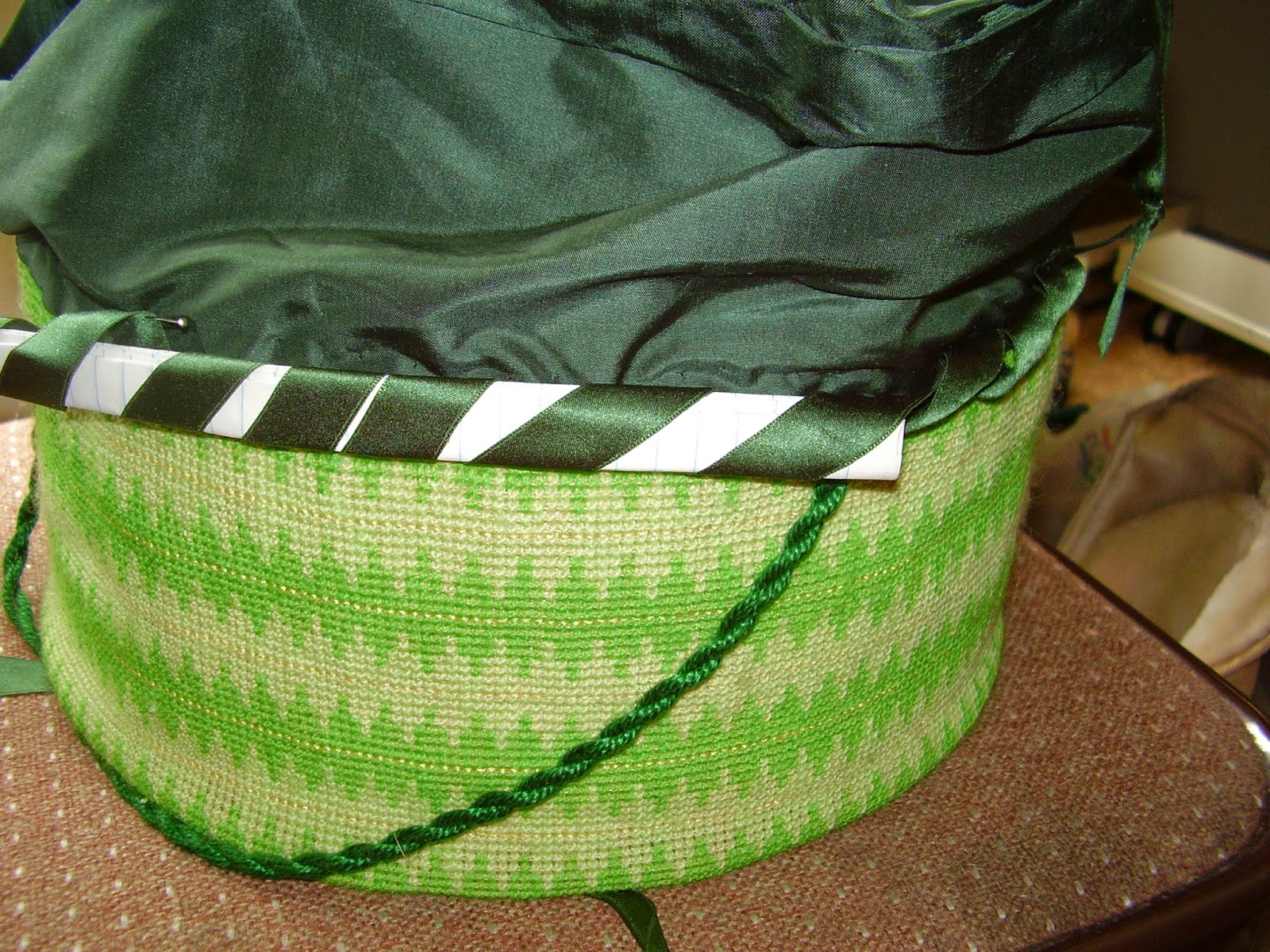 Silk ribbon rouleau on side join of work basket.