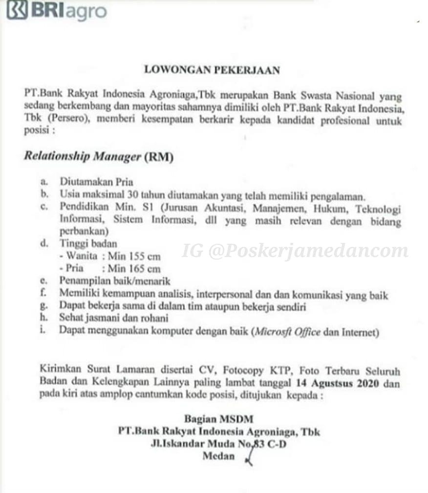 Lowongan Kerja Medan Terbaru Relationship Manager Rm Di Bank Bri Agroniaga Poskerjamedan Com