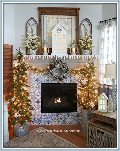 Winter -Fireplace -Mantel -Cottage-Farmhouse-Vintage-DIY-Blue & White-Decor-Design-From My Front Porch To Yours