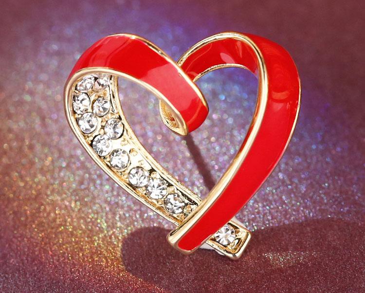 閃亮風紅愛心水鑽滴釉耳環