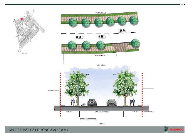 Chi tiết mặt cắt đường 3-3, rộng 10,5m, The Green Daisy
