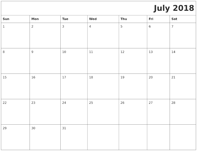 July 2018 Holiday Calendar UK