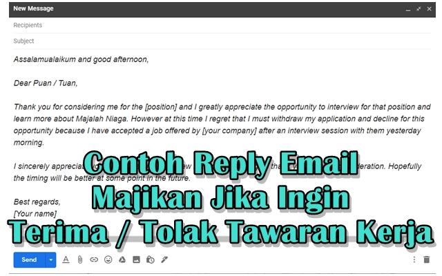 Contoh Reply Email Majikan Jika Ingin Terima / Tolak Tawaran Kerja