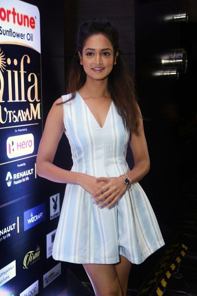 Tollywood Actress Shanvi At IIFA Awards 2017 In Blue Dress