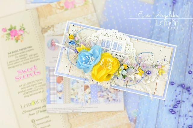 Kartka z jasnym tłem i barwną kompozycją umieszczona na tle papierów LemonCraft, z których powstała