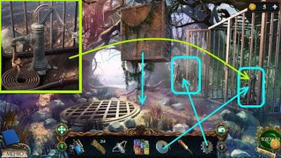 ставим шестерню и рычаг нажимаем, падает ящик, закрепляем шланг в игре затерянные земли 3