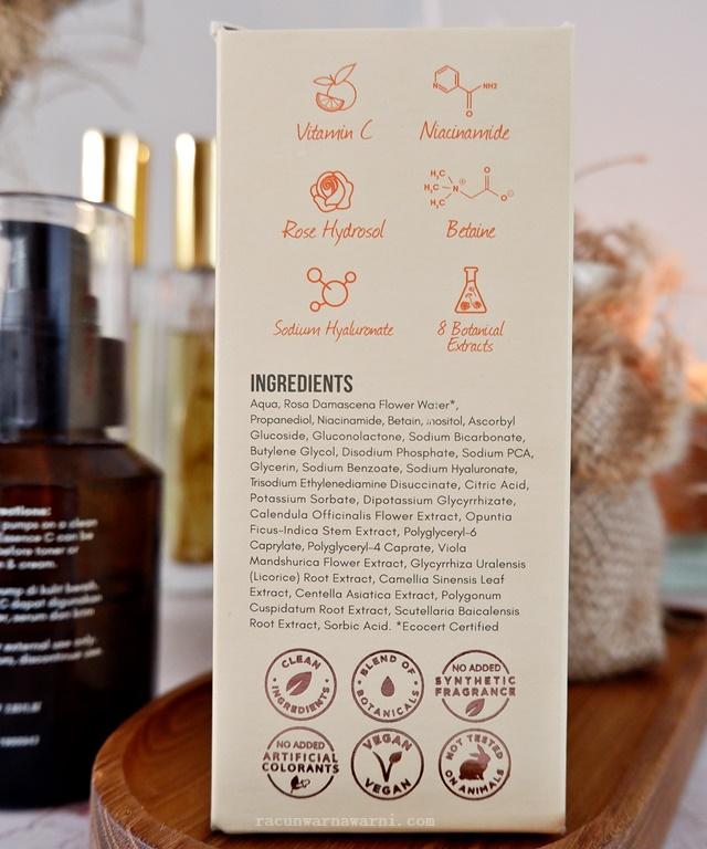 ingredients indoganic rose essence c