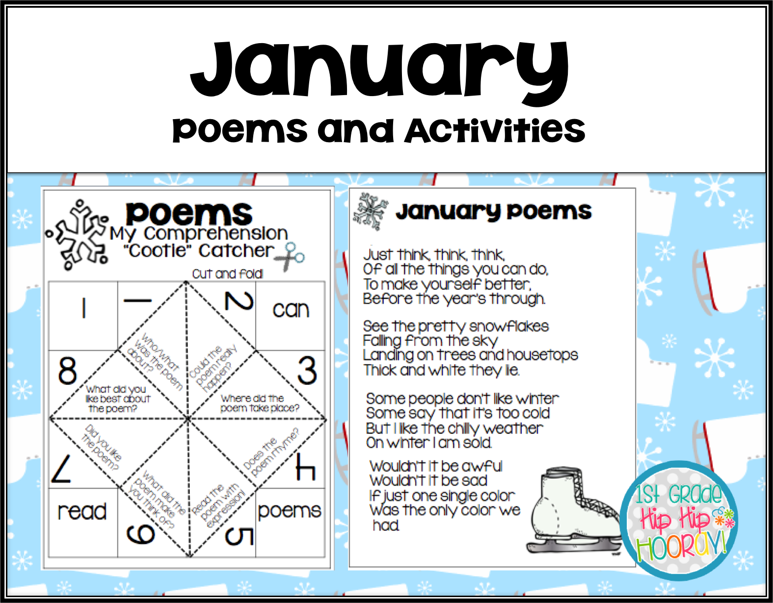 1st Grade Hip Hip Hooray January Poems And Activities