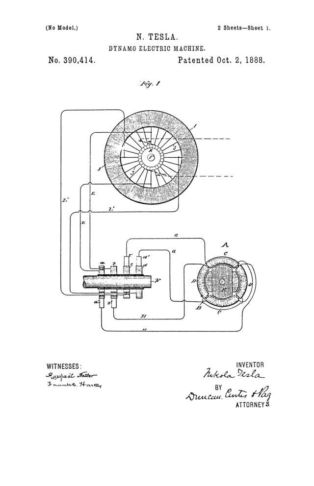NIKOLA TESLA U.S. PATENT 390,414 - DYNAMO-ELECTRIC MACHINE