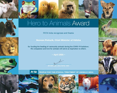 Odisha CM Naveen Patnaik conferred PETA's Hero to Animals Award for feeding community animals
