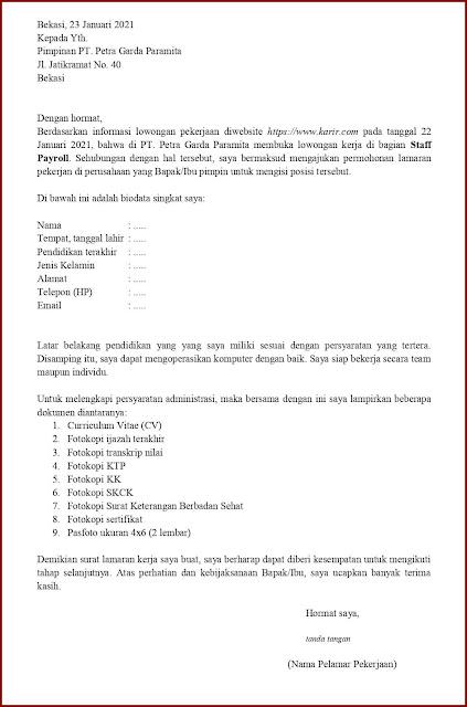 Contoh Application Letter Untuk Field Collector (Fresh Graduate) Berdasarkan Informasi Dari Website