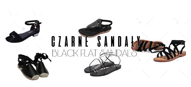 Czarne sandały- black flat sandals ROSEGAL