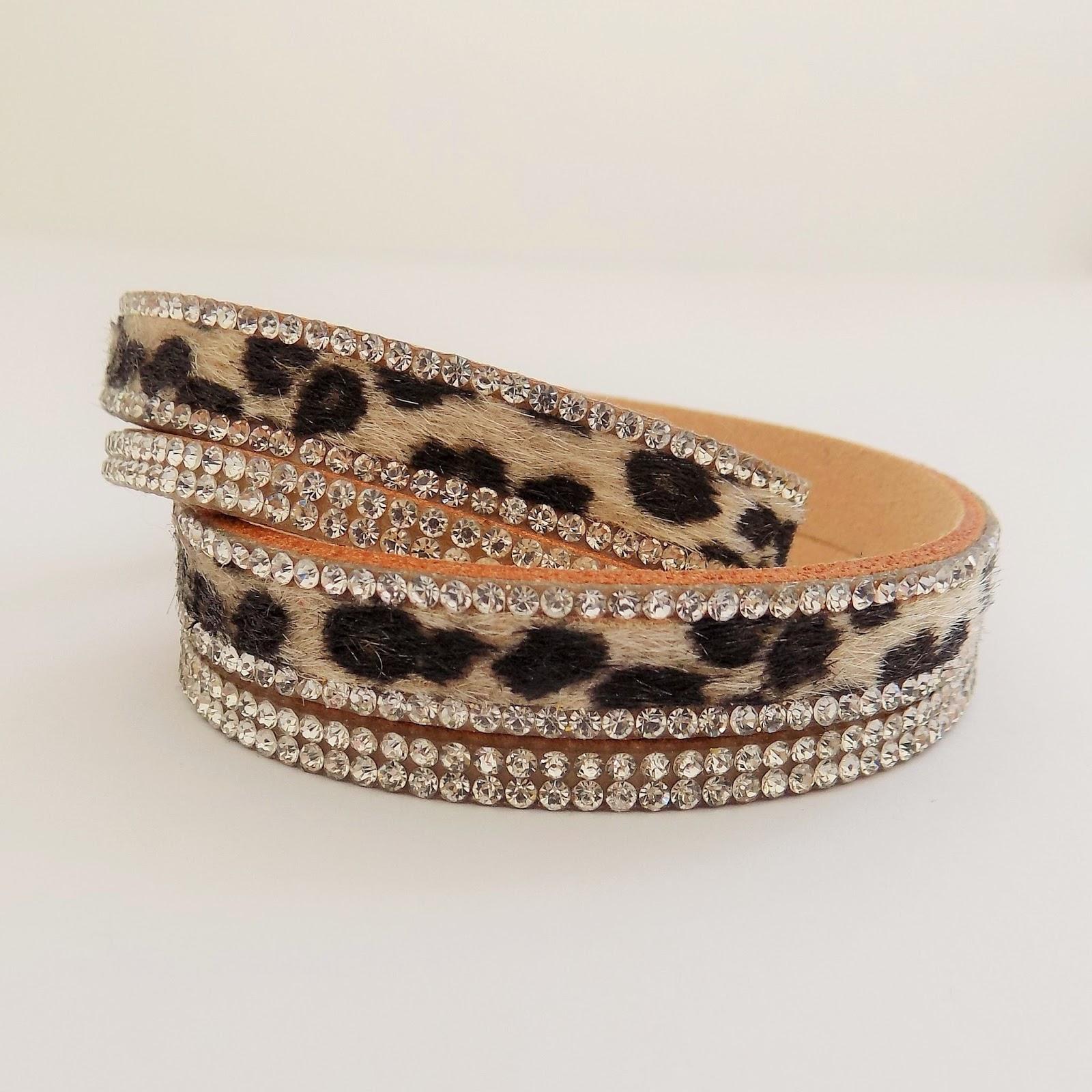 Leopard print double wrap bracelet