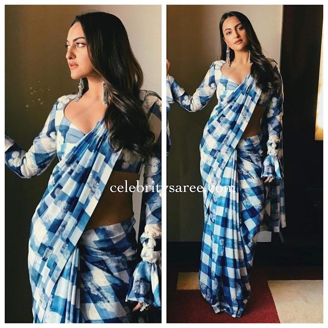 Sonakshi Sinha Blue Floral Saree