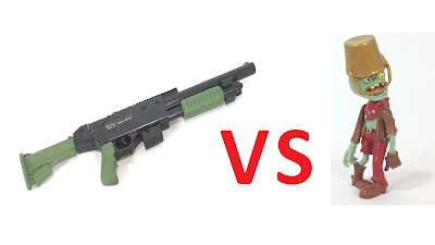 Toy army shotgun VS toy zombie