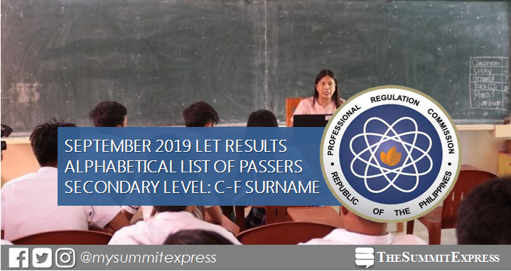 C-F Passers Secondary: September 2019 LET Result