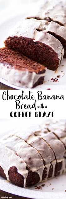 Chocolate Banana Bread with Coffee Glaze