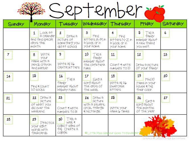 November Calendar Template Kindergarten