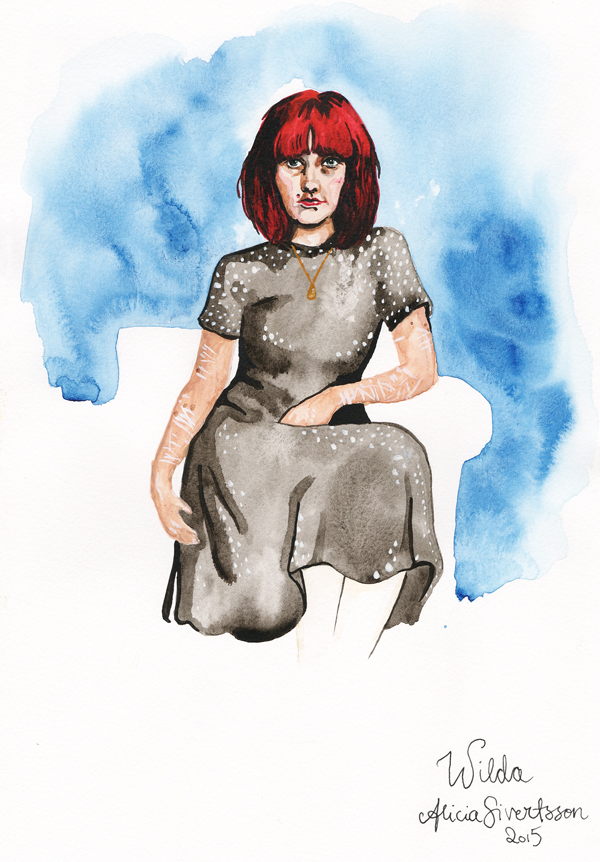 aliciasivert, alicia sivertsson, alicia sivert, wilda, reaktionista, porträtt, portrait, målning, painting, paint, måla, akvarell, aquarelle, water colour, colours, watercolor, red hair, rödhårig, ärr, scar, scars
