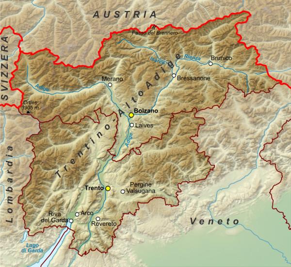 Mappa della regione trentino Alto Adige