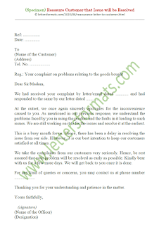 reassurance letter to customer