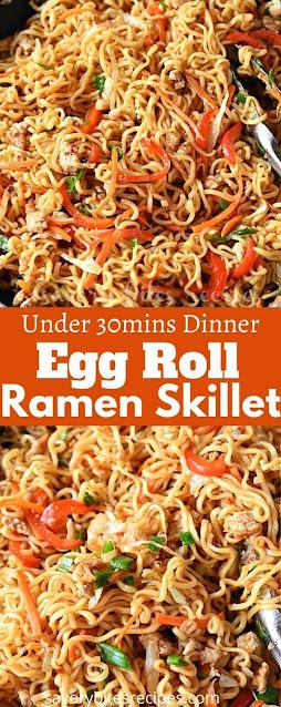 under 30mins dinner egg roll ramen skillet