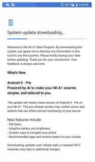 Begini Cara Update Xiaomi Mi A1 ke Android Pie