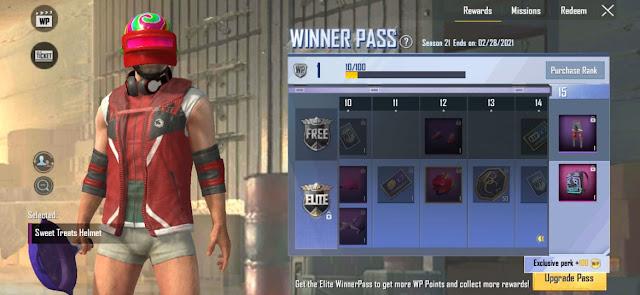 PUBG Lite Winner Pass Season 21 released checkout 1 to 30 rewards