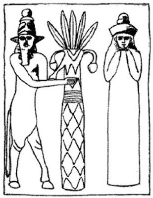 Riproduzione di un sigillo che rappresenta il dio sumero Enlil e sua moglie, la dea Ninlil.