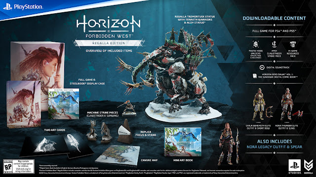horizon forbidden west regalla edition cross-gen steelbook display case download code voucher regalla-themed custom sculpted aloy tremortusk statue replica focus custom stand art print cards replica sunwing clawstrider machine physical strike pieces mini art book canvas map carja behemoth elite and nora thunder elite special outfits sling weapons in-game resources pack ammunition potions travel packs apex clawstrider machine strike piece exclusive photo mode poses face paints digital soundtrack horizon zero dawn graphic novel sunhawk open-world action role-playing game guerrilla games playstation sony interactive entertainment february 18, 2022 ps4 ps5