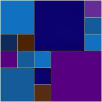 azul, roxo, azul escuro e azul claro, marrom