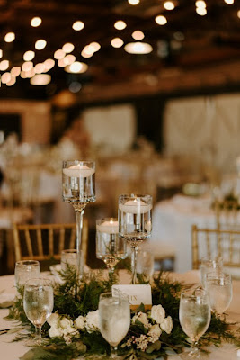 greenery and candle centerpieces