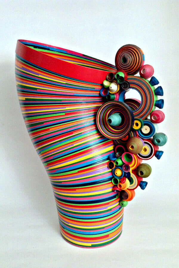 rolled paper sculpture vase