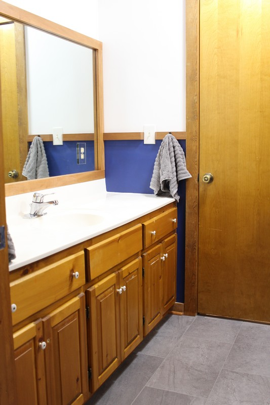 Jack and Jill Bathroom with White And Navy Walls and a wood cabinet