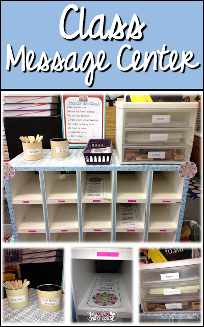 Class message center for letter writing, class community building and character counts kindness activity
