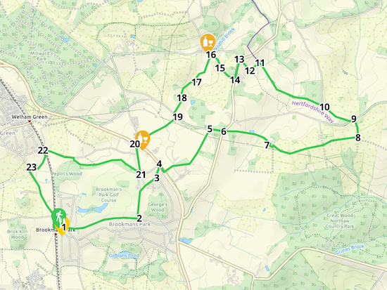 Map for Walk 19: Brookmans Park NE Loop  Created on Map Hub by Hertfordshire Walker Elements © Thunderforest © OpenStreetMap contributors  Note: There is a larger, more detailed map embedded at the end of these directions